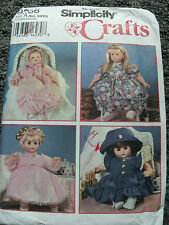 """SEWING PATTERN SIMPLICITY 9286 DOLL CLOTHES 12"""" TO 22"""" DRESS SHORTS HAT PANTIES"""