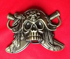 3D SKULL AND CROSSBONES CARRIBEAN PIRATE JOLLY ROGER FANCY DRESS BELT BUCKLE