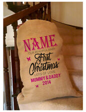 Butterfly Baby 1st Personalised Christmas Santa Sack / Stocking Bag  Hessian