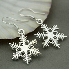 Hot Women 925 Silver Charms Snowflake Dangle Earrings Xmas Gift Jewelry