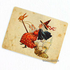 Witch on Flying Broomstick Deco Magnet, Decorative Fridge Whimsical Halloween