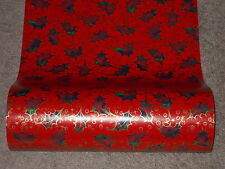 VTG CHRISTMAS STORE WRAPPING PAPER GIFT WRAP RED WITH GOLD HOLLY- 2 YARDS
