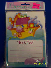 Two by Two Noah's Ark Animals Cute Baby Shower Party Thank You Notes Cards