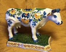 Vtg OUD DELFT Signed Pottery Hand Painted Polychrome Bull Cow Figurine w Flowers