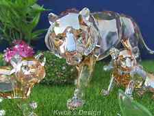 Swarovski Crystal Figurine SCS Tiger Family 3 Pcs. set & Green Plaque BOX/COA