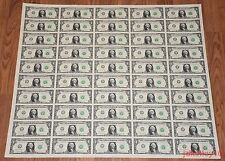 $1 UNCUT SHEET 1x50 ONE DOLLAR BILLS 2013 UNITED STATES CURRENCY MONEY BEP NEW