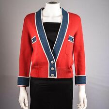 CHANEL CARDIGAN - US 6 - 38 - RED BLUE CASHMERE SWEATER CC LOGO