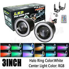 "2x 3"" RGB Projector LED Fog Light w/ White Angel Eyes Halo Ring Multi-Color 12V"