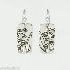 Far Fetched Lily of the Valley Flower Dangle Earrings 925 Sterling Silver NEW