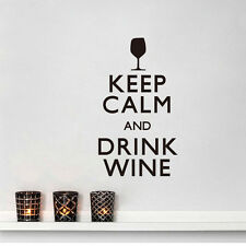 Keep Calm And Drink Wine Quotes Wall Sticker Decal Kitchen Bar Wall Stickers