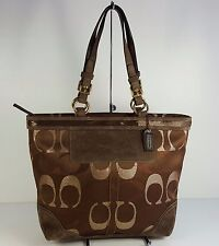 $358 Coach Brown Sateen CC Signature Embossed Beaded Tote HandBag Bag Purse