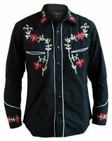 Mens Line Dancing Cowboy Western Rockabilly Embroidered Floral Shirt All Sizes.