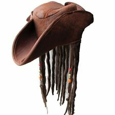 Adulto Pirata dei Caraibi Capitan Jack Sparrow FANCY DRESS UP Cappello Con Capelli Costume