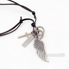 Men's Women's Angel Wing Cross Charms Genuine Leather Adjustable Necklace