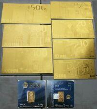 BANCONOTE EURO PLACCATE D'ORO 24KT CON CERTIFICATO E LINGOTTO PIM IN PURO GOLD!!