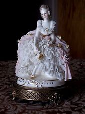 Antique Dresden Porcelain Lace Figurine Brass Base Boudoir Lamp Part