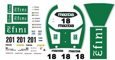 #18 efini Mazda 787B 1991 1/64th HO Scale Slot Car Decals