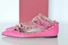 NIB Auth Valentino RockStud Studded Pink Leather Ankle Ballet Flats pumps 4 / 34