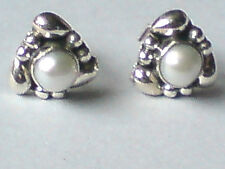 STERLING SILVER 12mm.STUD EARRING with FRESHWATER PEARL CABOCHON STONES £9.50nwt