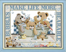 Bubble Bath Teddy Bears 14ct Cross Stitch Kit - Brand New