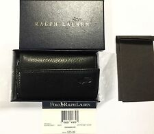 Polo Ralph Lauren Slim Black Leather Japan Key Case Wallet Organizer in box $75