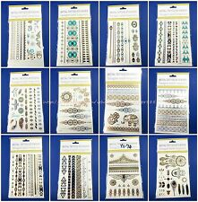10 sheets boho festival party favor flash gold silver metallic temporary tattoo