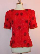 Stunning Vtg 80s St Enay Red Black Trophy Sequin Party Top Blouse M