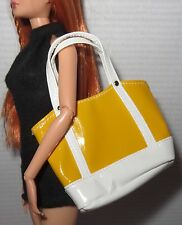 * PURSE  ~ BARBIE BASICS YELLOW WHITE BEACH TOTE BAG MODEL MUSE ACCESSORY
