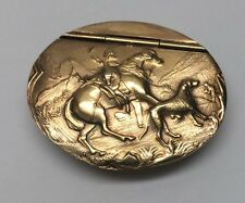 Vintage James Dixon & Sons Sterling Silver Snuff Box, Hunting Scene, Dunhill