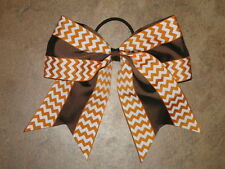 "NEW ""Double Thanksgiving Chevron"" Cheer Bow Pony Tail Ribbon Hair Cheerleading"