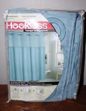 Hookless Smoke Blue Jacquard Shower Curtain With Snap-in Fabric Liner NEW NIP