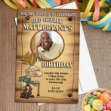 10 Personalised Old Geezer 30th 40th 50th Birthday Party PHOTO Invitations N148