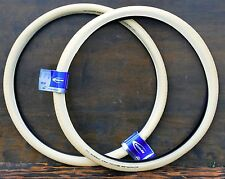"700x50 Antique Cream White 29er Schwalbe Bicycle Tires 28""x2.0"" Wood Wheel Bike"