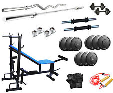 GB Home Gym Set With 50Kg Weight+8in1 Bench+3Ft Curl Rod+5Ft Plain Rod+Dumbbells