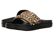 $126 size 7 Kendall and Kylie Shiloh Black Leather Flas Shain Slides Sandals