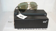 New Authentic MONTBLANC Sunglasses Aviator Gold/Green Polarized MB517S 28R 62