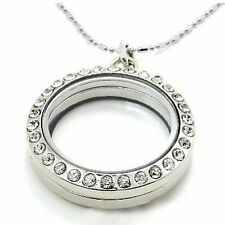 30mm Round Silver Floating Charm Living Locket Pendant Necklace Lovely CTY