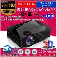 100% Original UNIC UC46 LED Projector, WIFI Display,1200 Lu,800*480p HDMI 3D VGA