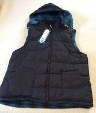NEW i5 PUFFER VEST ADULT REVERSIBLE SIZE LG WARM ZIPPER KNIT NECK WITH HOOD