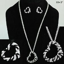 Necklace & Earrings, Zebra Heart Love Crystal Black White Zoo Safari Gift #241-E