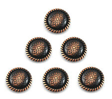 """Conchos Lot Of 6 Antique Copper Round Rope Flower Western Rodeo Leather 1 """" New"""
