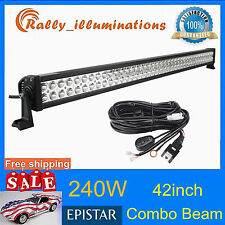 "42"" 240W LED Work Light Bar COMBO Offroad Driving Lamp SUV+Wiring Kit 126W 300W"