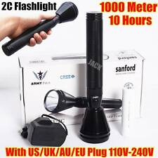 2C SIZE Sanford 1000Meter CREE LED TACTICAL RECHARGEABLE POLICE FLASHLIGHT LAMP
