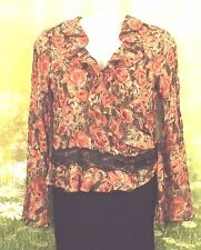 SUNNY LEIGH Rust Orange Roses Crinkle Poly Ruffle Wrap Peplum LS Blouse Top XL
