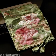 SILK Jacquard JEWELRY TRAVEL BAG Roll Pouch Green Brocade Fabric Zipper Purse