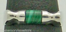 DAINTY ESTATE MALACHITE BAR & STERLING SILVER BAND RING, SIZE 6.75 or N