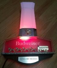 Vintage Budweiser Beer Bar Tavern  Golden Clydesdale Wall Sconce Light Up Sign