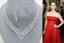 New Women Fashion Celebrity Inspired Silver Tennis Necklace Set Bridal/Evening