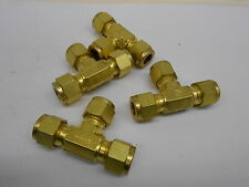 "LOT OF 4 SWAGELOK BRASS UNION TEE ⅜"" TUBE O.D. COMPRESSION FITTINGS"