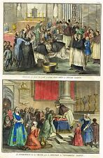 """Picart's """"Religious Customs""""- """"ADORATION OF THE CROSS"""" - H-Col. Eng -1733"""